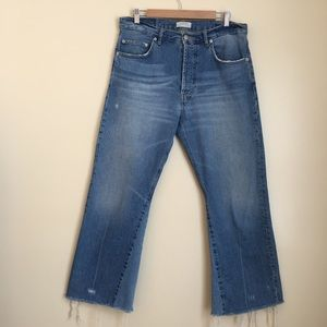 Zara High Waisted Cropped Flare Denim Jeans